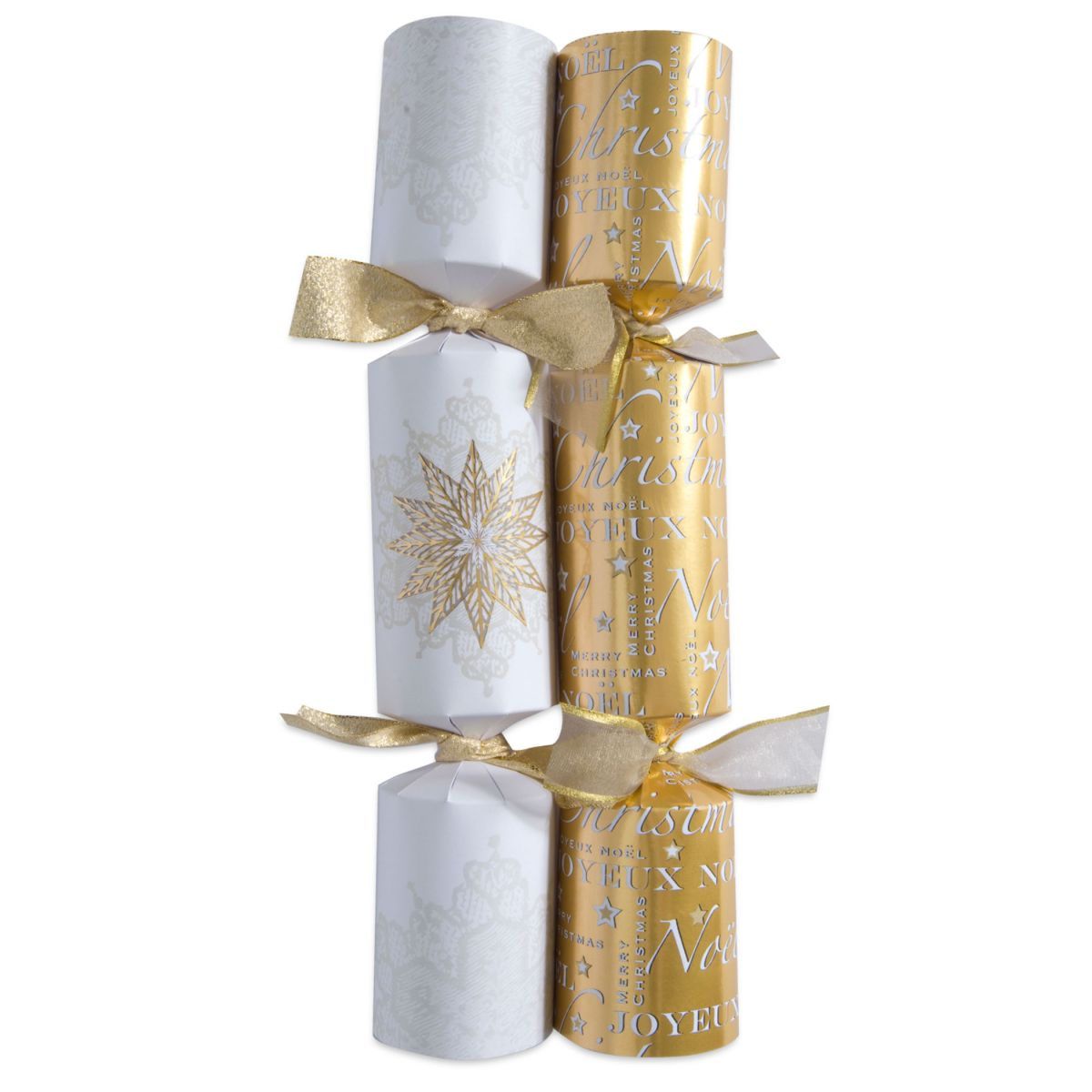 Classic White & Gold Snow Flake Christmas Cracker Designs